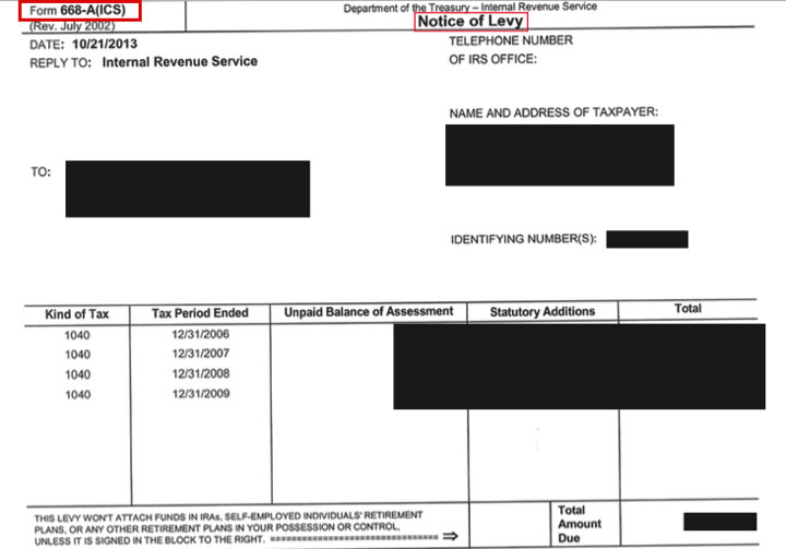 IRS FORM 668-A: NOTICE OF LEVY