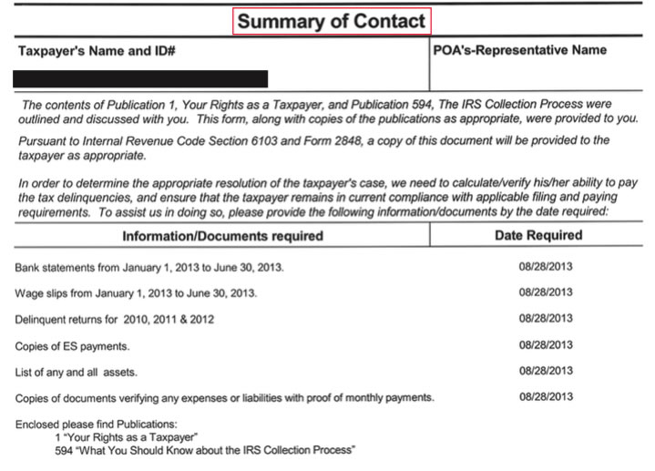 IRS FORM 9297: SUMMARY OF CONTACT