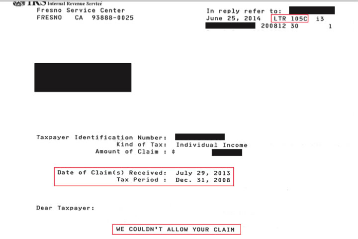 IRS LETTER 105C: WE COULDN'T ALLOW YOUR CLAIM